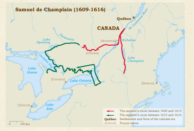 The accepted route Champlain supposedly took but I think is incorrect.