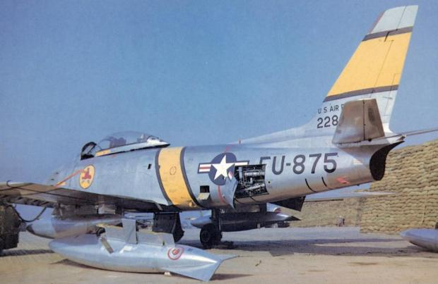 F-86 Sabre jet of the 334th Squadron in Korea of which Glover flew 58 combat missions.
