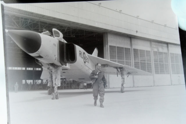 NEGATIVE 1 INVERSION: This shows test pilot Janus kazolski in front of the first Arrow prototype RL 201