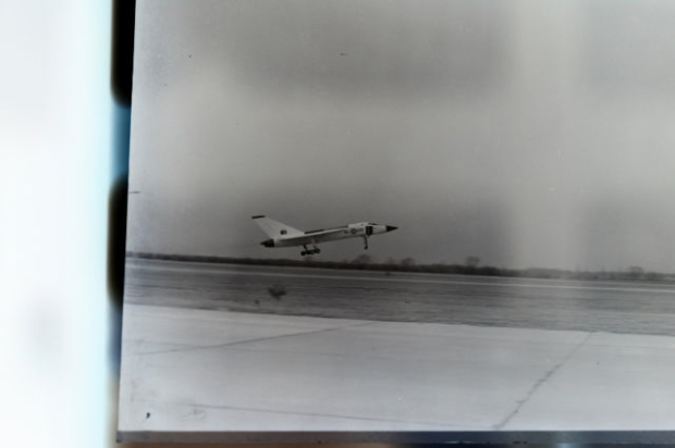NEGATIVE 3 INVERSION: RL201, the first Avro Arrow prototype on take off.