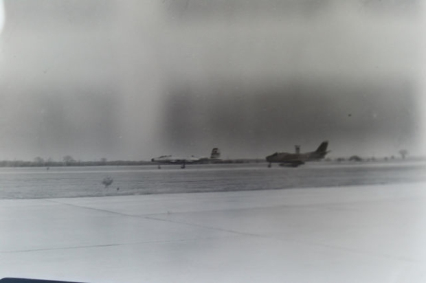 NEGATIVE 7 INVERSION: The two chase planes used by Avro to fly alongside the Arrow on its test flights, a Cf-100 Canuck and Cf-86 Sabre.