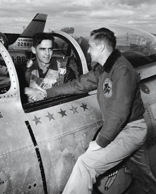 Ernie Glover in the cockpit of a Sabre jet in Korea flying for the USAF. (photo:Legion Magazine)