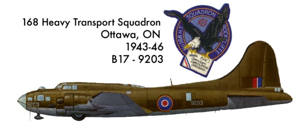 B17-9203 from Ottawa's Rockcliffe 168 Squadron and its insignia crest patch worn by crew during World War 2. (Patch image CC-SY)