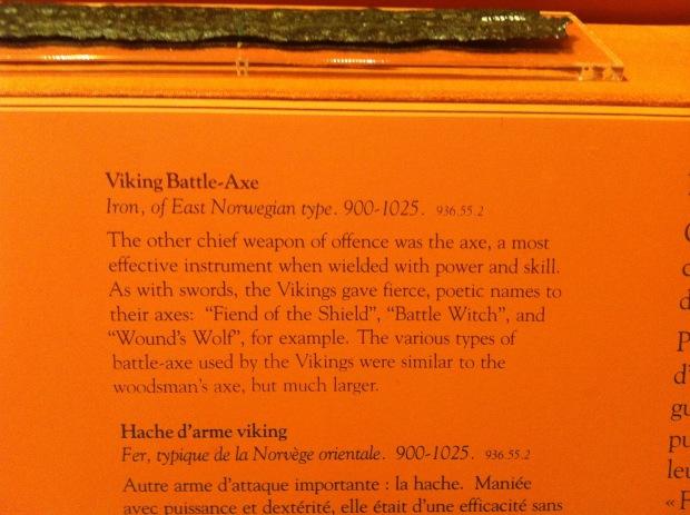 Description of the Beardmore axe.