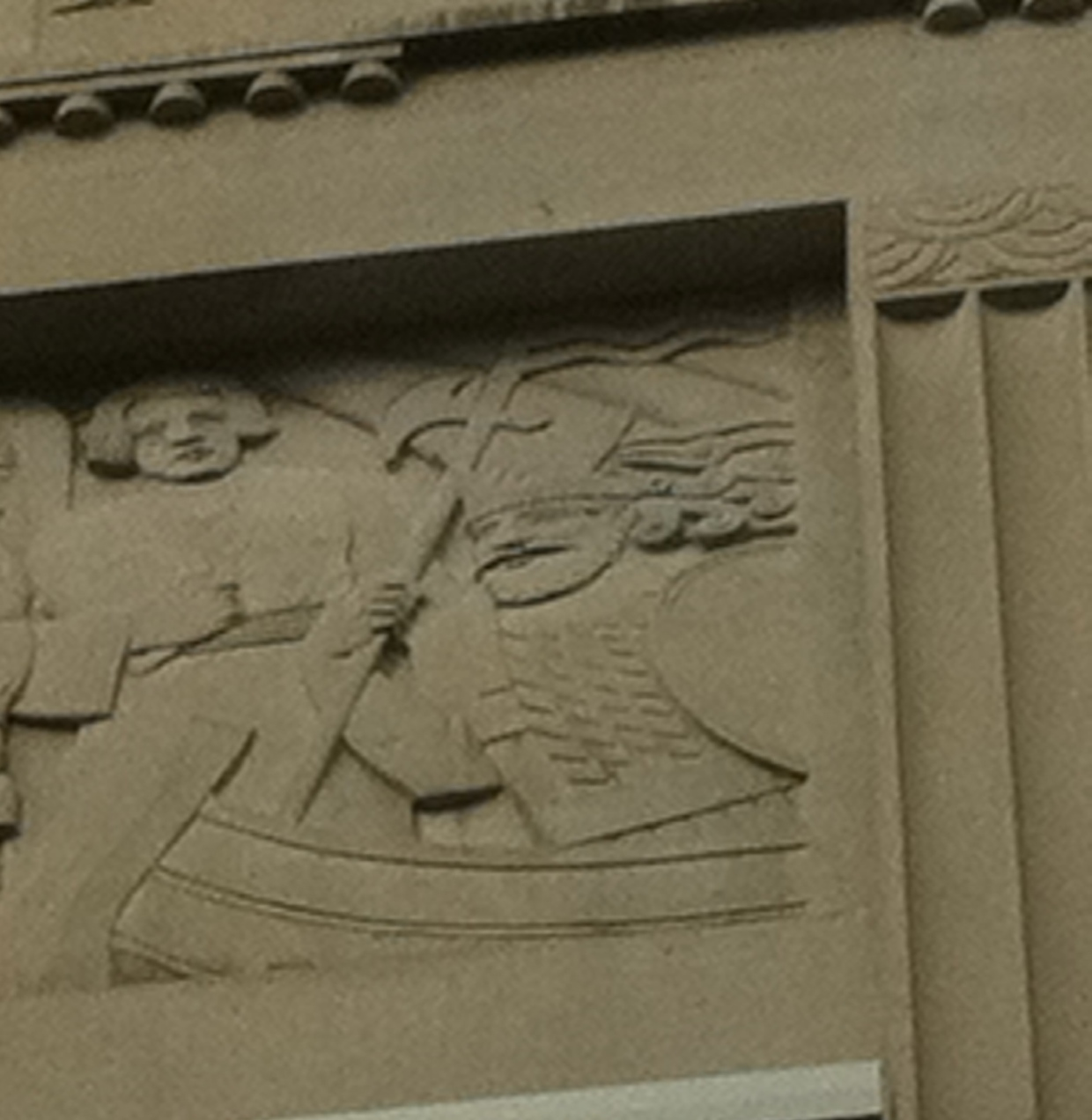 A 1930 relief carving of a Viking first discovering Canada is depicted on the Bank Of Montreal on Sparks, St. Ottawa.