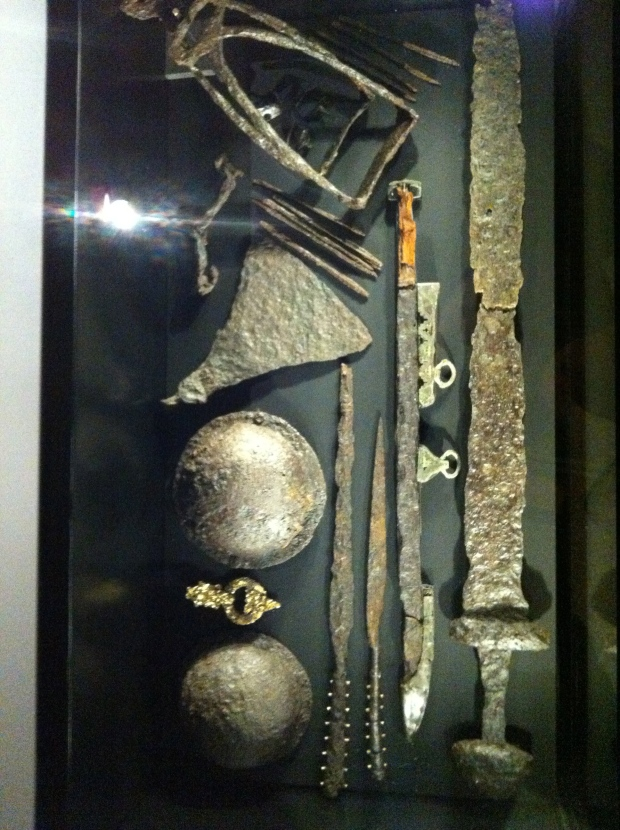 An assortment of unearthed Viking weaponry on display at the exhibit.
