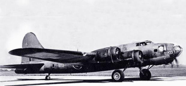 "USAF file photo of Hillcoat's B17-9203 from Rockcliffe painted in RCAF markings. Note serial number ""9203"" painted on the nose. It was on its way home when it disappeared over the Atlantic Ocean in 1944."
