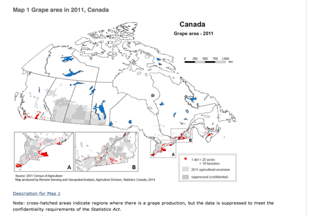 A current map showing extent of wild grapes in Canada.