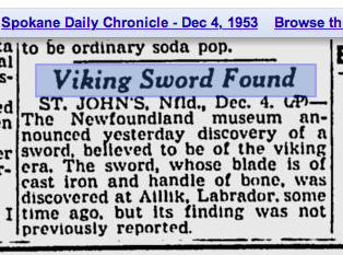 Newspaper article describing a Viking sword found in Aillik, Labrador.