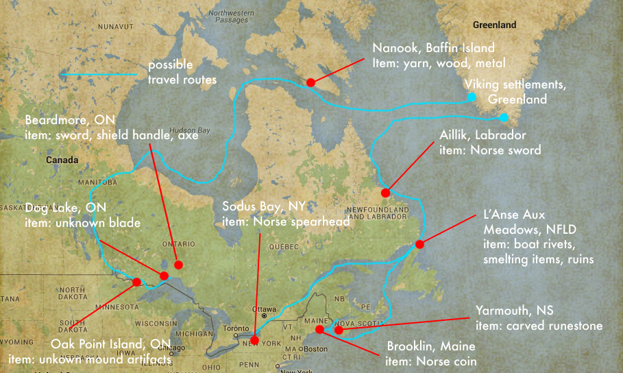 Possible Norse exploration routes.