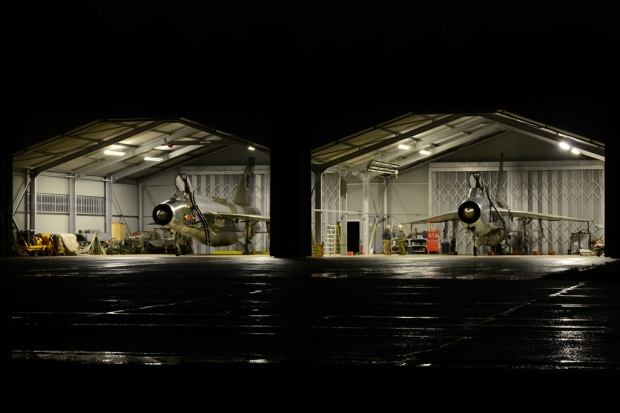 A photo of a RAF QRA hangar still in operation.