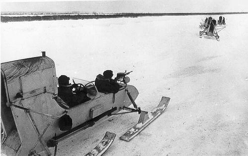German Aerosleds take chase after Indiana jones successfully retrieves the lost Spear Of Destiny.