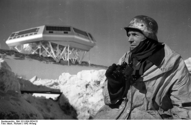 A german soldier keeps a look out for Indiana Jones at a remote Antarctic outpost. (NOTE: fictional composite photo)