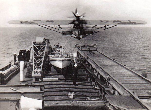 The Dorner Do15 seaplane being catapulted off the ship for the Nazi landing in Antarctica.