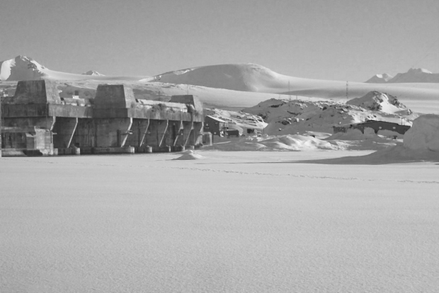 A concrete Nazi bunker constructed on Antarctica contains secrets yet to be exposed. (Note: fictional composite photo)