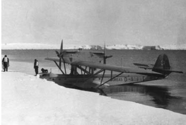 One of the German Dornier sea planes arriving on the ice shelf of Antarctica.
