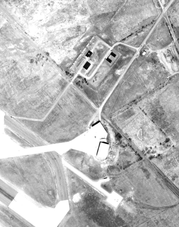 a 1950s satellite image shows the special NORAD QRA facility. Missile bunkers located at top.