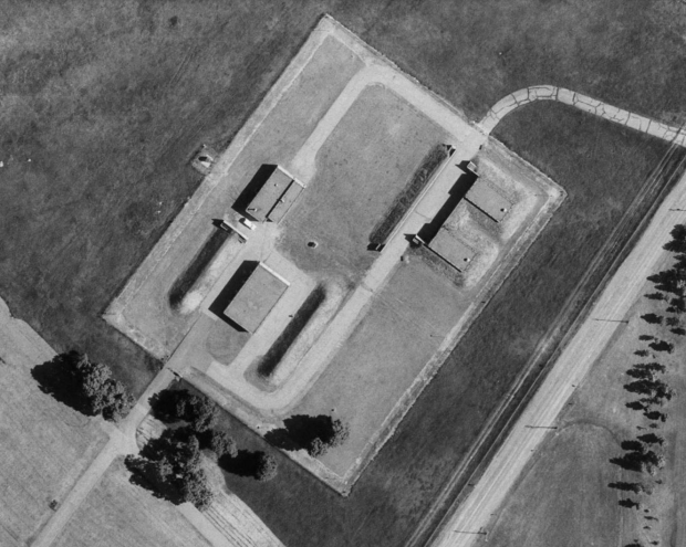 A 1965 aerial image shows the missile bunkers for the fighter jets armament.