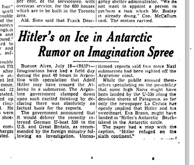 a 1946 article in the Toronto Star about the theory Hitler escaped with treasures to Antarctica. (GoogleNews)