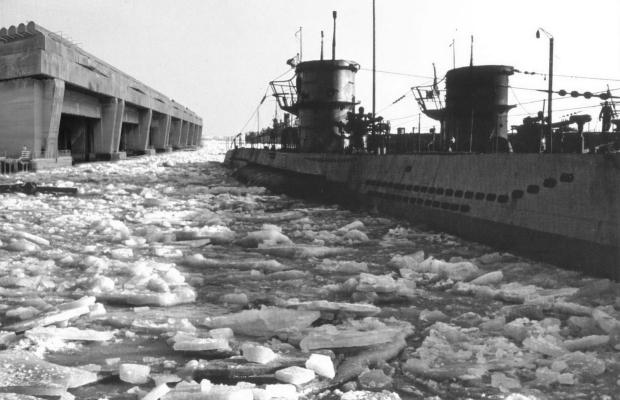 A secret U-boat base built on the shore of Antarctica. (NOTE: fictional composite photo)