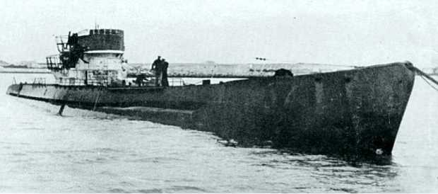 The surrendered U-boat U-530 after arriving in Argentina two months after the war's end.