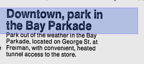 "Ads in the newspaper entice shoppers to use the ""weather-proof"" passage. (GoogleNews)"