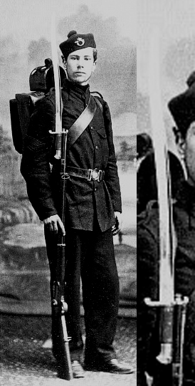 Canadian Militia Sergeant with the same sword bayonet attached to his Snider/Enfield rifle.
