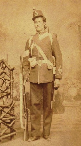 This photo shows a Canadian Militia officer with the sword at his side.
