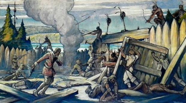 Dollard_des_Ormeaux_meurt_à_Long-Sault_pour_sauver_la_colonie_-_William_Thurston_Topham